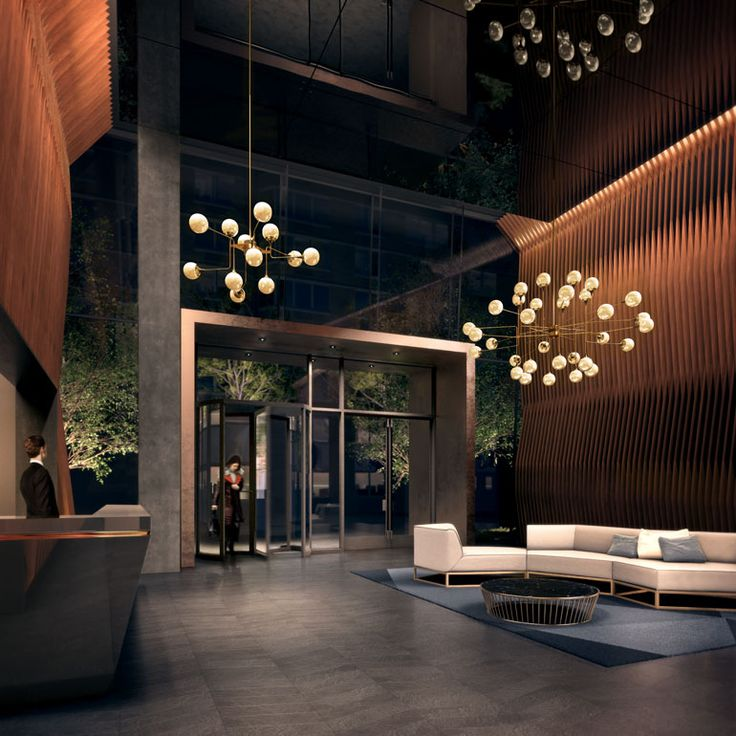 One of the grand lobbies. The American Copper Buildings were designed by SHoP Architects. Development by JDS Development Group. 626 First Avenue, NY, NY. http://jdsdevelopment.com/american-copper-buildings/