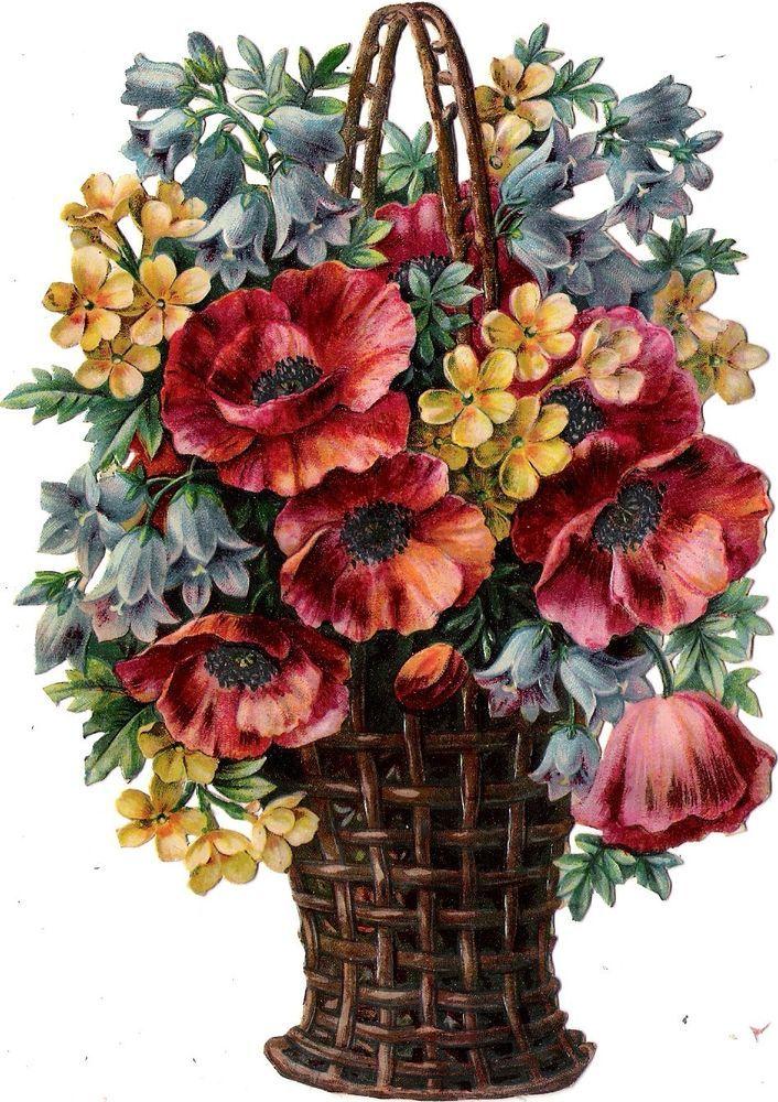 Oblaten Glanzbild scrap die cut chromo Blume 17cm flower Korb basket poppy fleur