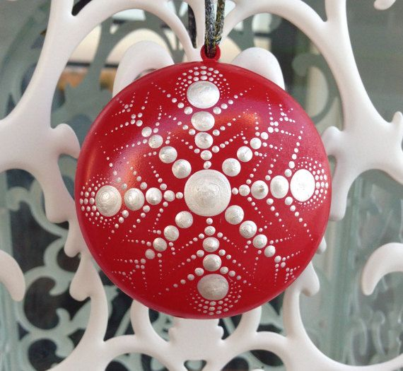 Christmas tree ornament, Pearl Snowflake mandala on red Christmas ornaments Pearl snowflake on red ornament Dotart Dotilism Pointilism