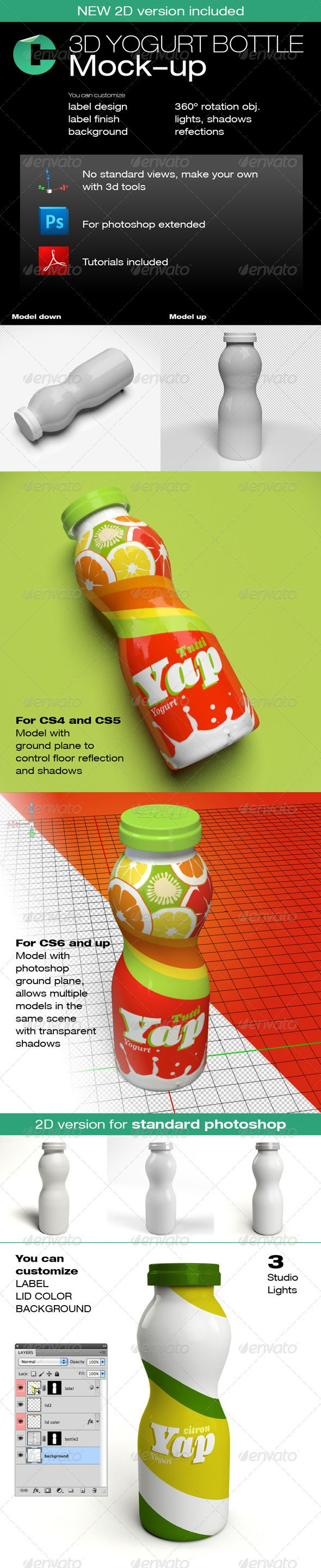 3d Object - Yogurt Bottle  #GraphicRiver         This product have 2 sets one compatible with Adobe Photoshop CS5 Extended and CS6 Extended (3d files) and other compatible with Adobe Photoshop CS standard version (2d