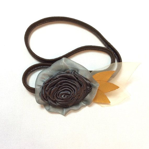 Grey and gold elasticated headband rose and by BlueLilyMagnolia