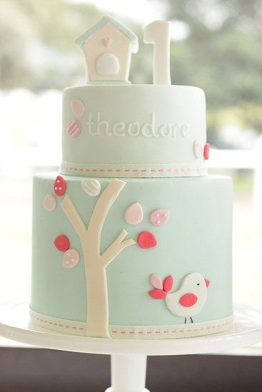 My Little Love Bird Cake: Hello, birdie! Baby only turns 1 once — and mama's ready to go all out to celebrate the occasion. Celebrate the love you feel for your lil one with a cake that's equally lovely. This just might be the sweetest first birthday cake we've ever seen!  Source: Hello Naomi