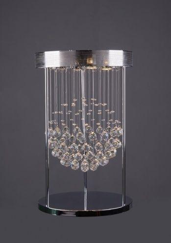 3-Light clear crystal drop table lamp.