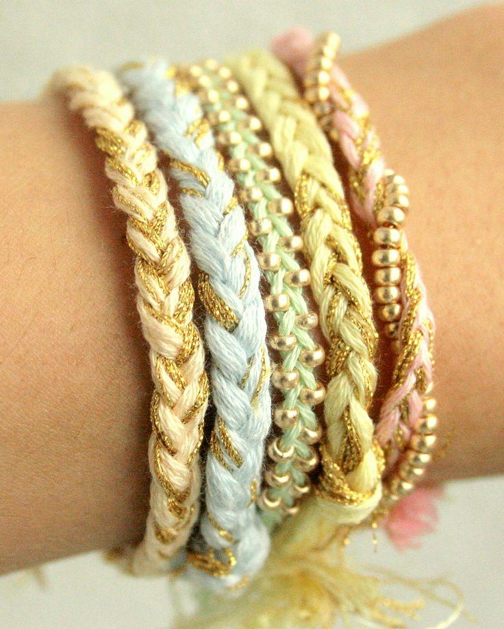 Braided bracelets.: Arm Candy, Color, Pastel Rainbows, Beads Friendship Bracelets, Cute Bracelets, Braids Bracelets, Diy Bracelets, Bracelets Crafts, Accessories
