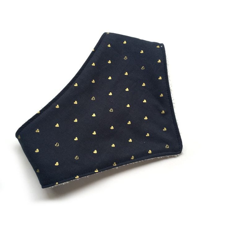 Navy with Metallic Gold Hearts Dribble Bib