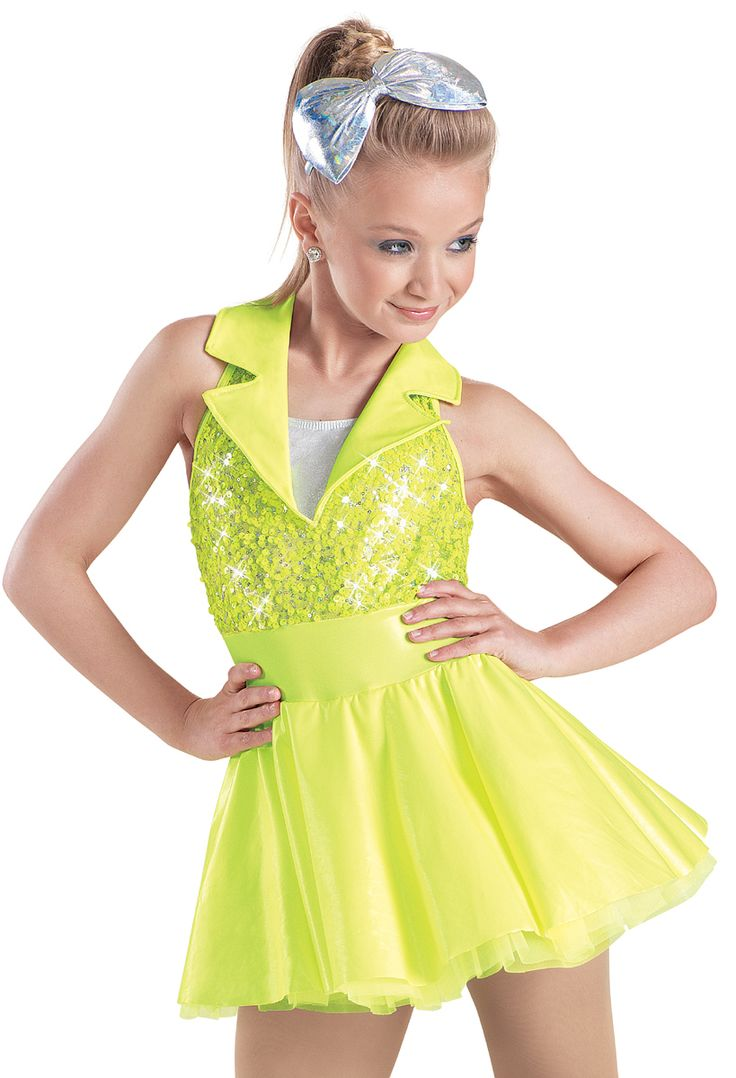 My dance costume this year! Except ours is Coral We're doing Umbrella/Singing in the rain from Glee  Weissman™   Metallic Sequin Neon Vinyl Dress