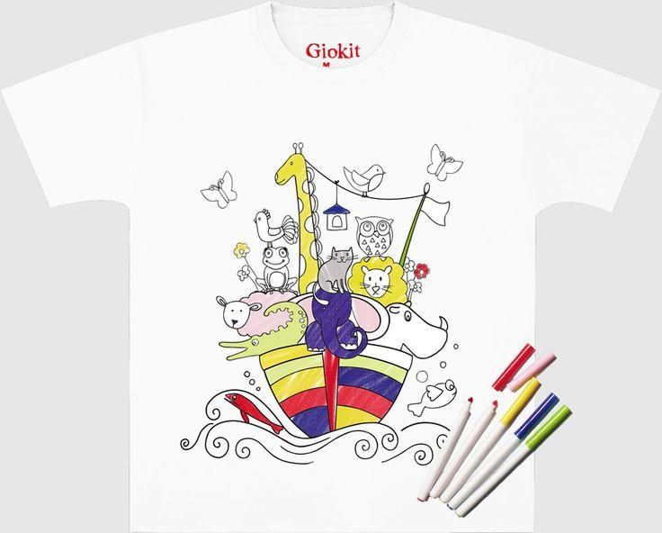 Vestiti dispettosi: t-shirt e magliette in cotone 100% con disegni prestampati, pronti per essere colorati e personalizzati con gli appositi pennarelli compresi nel kit, poi lavati e ricolorati di nuovo!