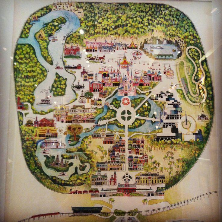 Vintage Disney Magic Kingdom map at Downtown