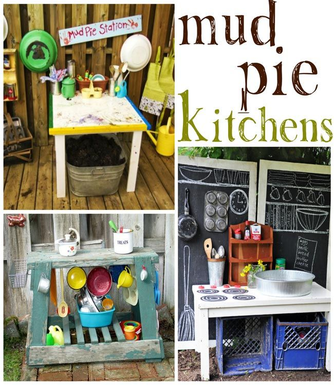 Mud pie kitchen for kids. Great idea for some messy and fun outdoor play. If you don't want mess of mud you could use Play Sand: In a large, plastic storage container with a lid, mix together 9 cups of clean play sand with 3 cups of cornstarch. Add 2 1/2 cups of water, stir, and start building. Close the lid when the sands not in use. Just add a bit of water if it dries out.