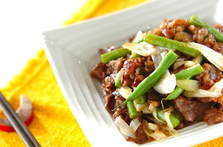 サヤインゲンは手早く炒めてシャキシャキに。ご飯が進む中華おかず。牛肉とサヤインゲンのオイスターソース炒め/西川 綾のレシピ。[中華/炒めもの]2014.05.02公開のレシピです。