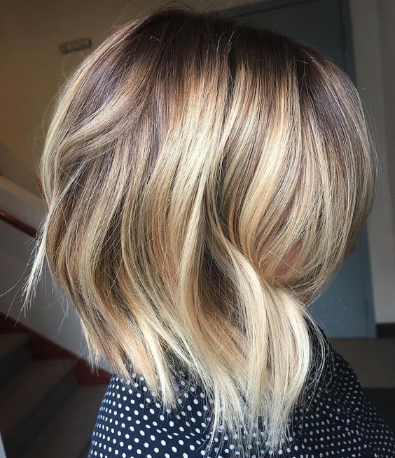 """54 Likes, 3 Comments - Kate Dattilo (@hair_bykate) on Instagram: """"Up close 〰 free lights balayage on a short textured lob melted with @redkenofficial shades •••…"""""""