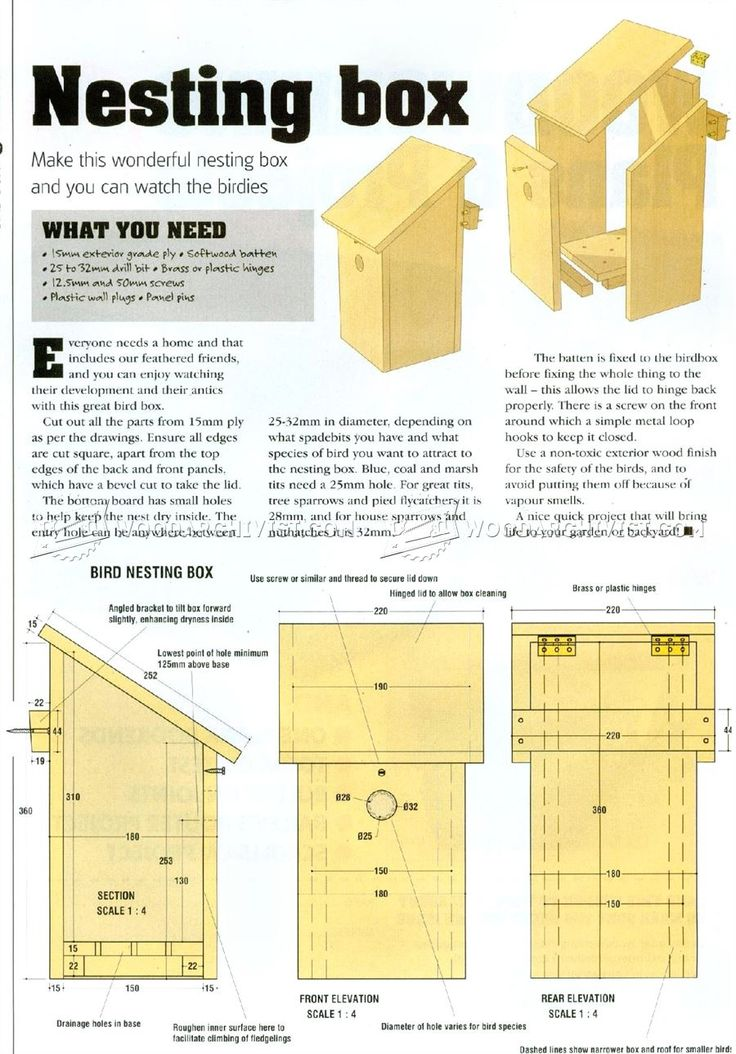Bird Nesting Box Plans - Outdoor Plans and Projects | WoodArchivist.com