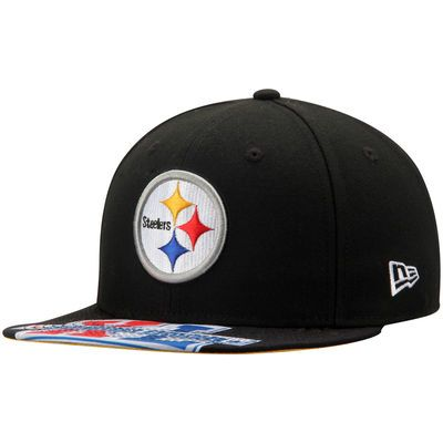 Pittsburgh Steelers New Era On The Fifty Super Bowl XL Jumbo Vize Original Fit 9FIFTY Adjustable Hat - Black