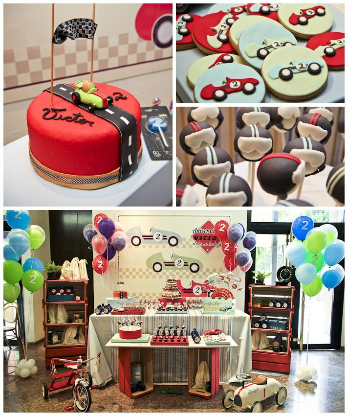 Vintage Race Car themed birthday party with Such Cute Ideas via Kara's Party Ideas Kara's Party Ideas | Cake, decor, cupcakes, games and more! #carparty #partyideas #racecarparty