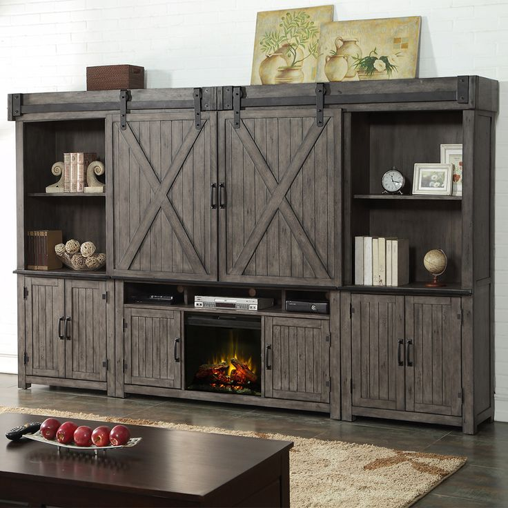 Share and Save $5 Off Any Order Over $99. (excludes a few products) Legends Furniture Storehouse 5 Piece Fireplace Wall Unit w/ Sliding Barn Doors in Distressed Smoked Grey #dynamichome