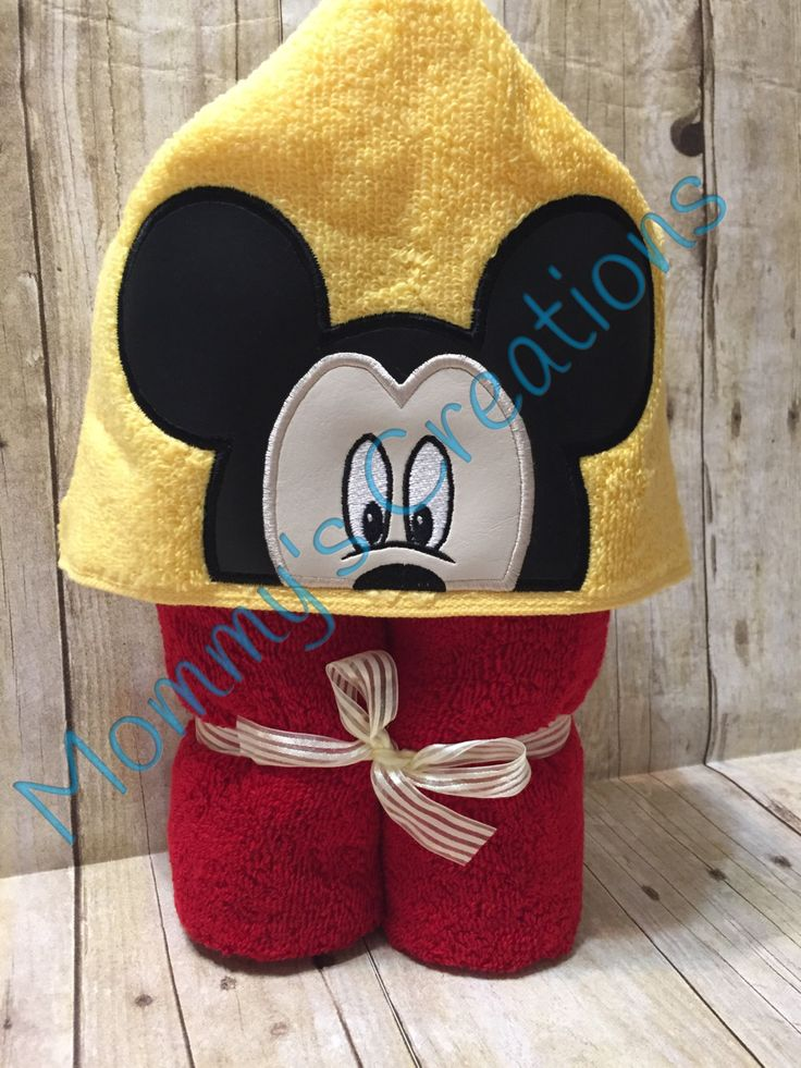 """Boy Mouse Applique Hooded Bath, Beach Towel 30"""" x 54"""" by MommysCraftCreations on Etsy"""