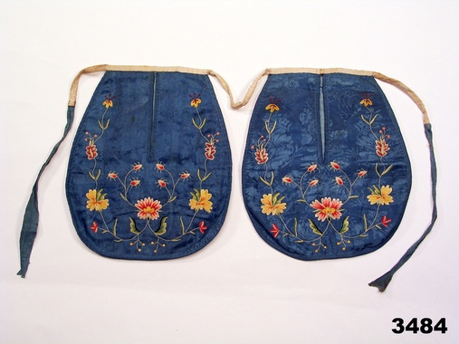 Folk costume pair of pockets, designed to be used on top of skirt. Embroidery on silk. From Simrishamn, Skåne, Sweden. Date circa 1770-1780. http://www.digitaltmuseum.se/things/ficka/S-NM/NM.0003484