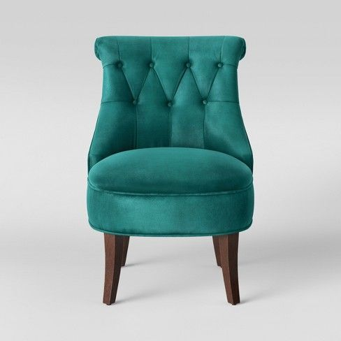 Nerine Tufted Rollback Accent Chair Velvet Teal Assembly