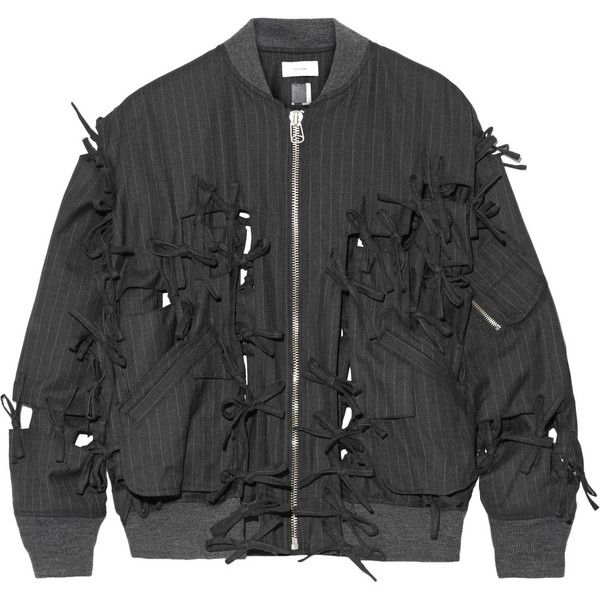 Facetasm Bow-embellished pinstriped wool-twill bomber jacket ($730) ❤ liked on Polyvore featuring outerwear, jackets, tops, bomber jacket, zipper jacket, bomber style jacket, twill jacket and flight jacket