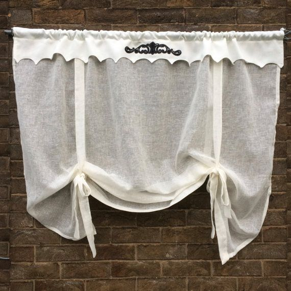 Ivory Linen Window Valance, Sheer Linen Roll Up Shade, Black Embroidered  Scroll, Bathroom Kitchen Curtain