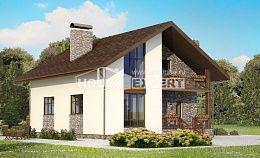 155-001-П Проект двухэтажного дома мансардой и гаражом, бюджетный коттедж из газосиликатных блоков
