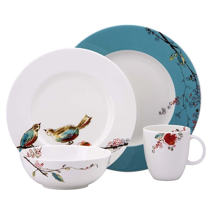 Lenox Simply Fine Chirp  4-piece put setting with charming watercolor scene   Incorporates supper plate, lunch get-together/serving of mixed greens plate, universally handy bowl, and 10-ounce container   Created from Lenox fine bone china; ensured chip safe   Striking sprinkles of blue-green and watercolor flying creatures  You can look here and buy.