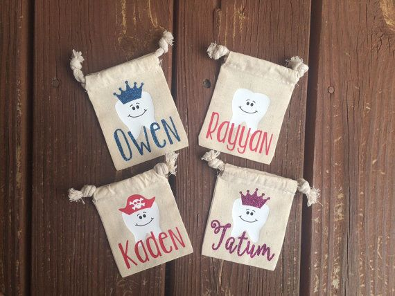 These tooth fairy pouches are perfect to put your little ones tooth in while waiting for the tooth fairy to visit! Personalized with childs
