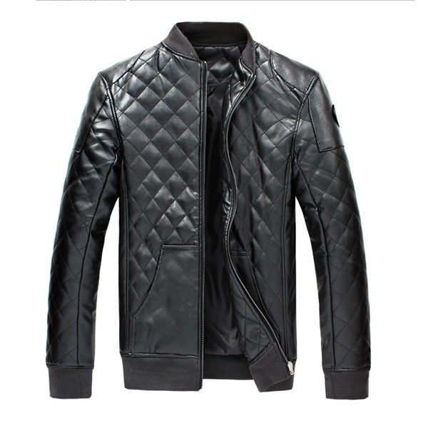 Stylish Man's PU Leather Coat Jacket of Stand Collar Long Sleeve/79301 via AmaSell. Click on the image to see more!