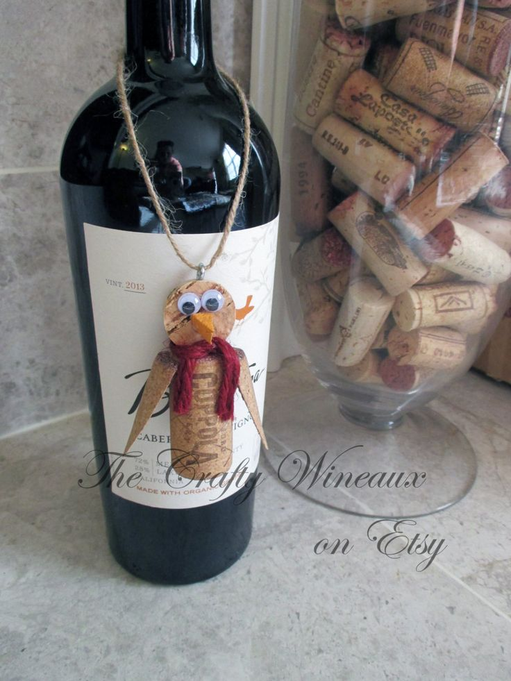 Penguin Twine and Wine Cork Ornament Christmas
