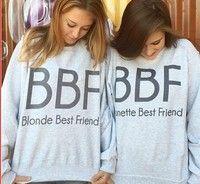 Wish | Women Hoodies Brunette Best Friends BBF Women Pullovers BFF Blonde Best Friend Print Harajuku Girl Friends Sweatshirt