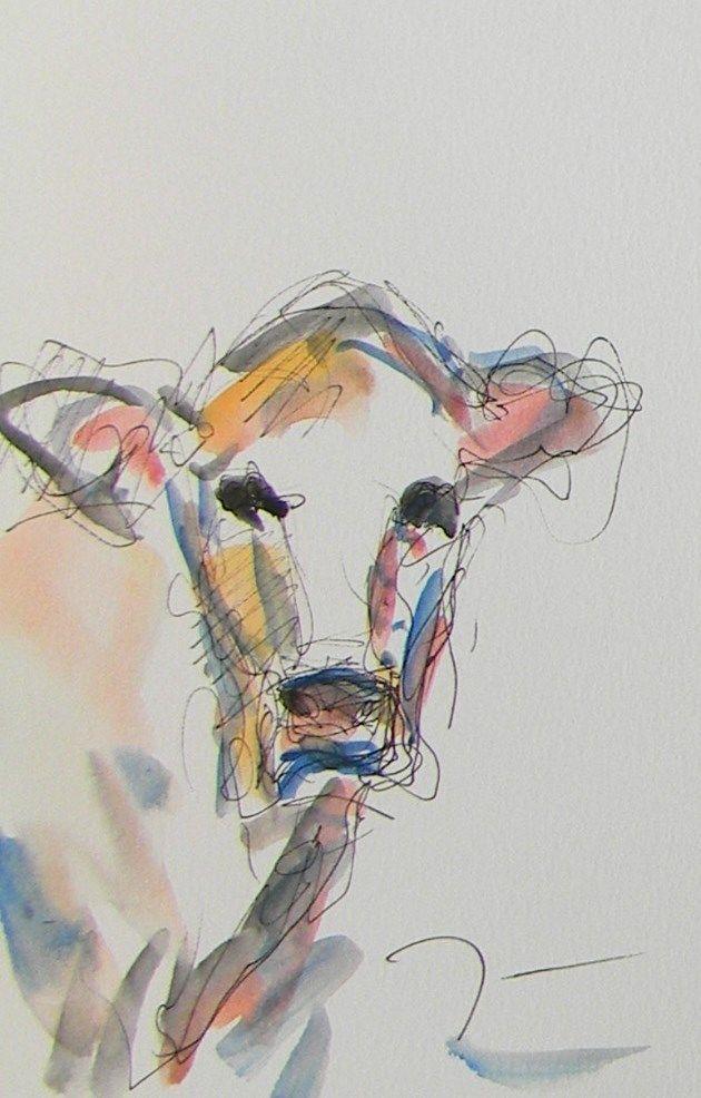 Jose Trujillo Art Original Watercolor Cow Farm Artwork Modernism