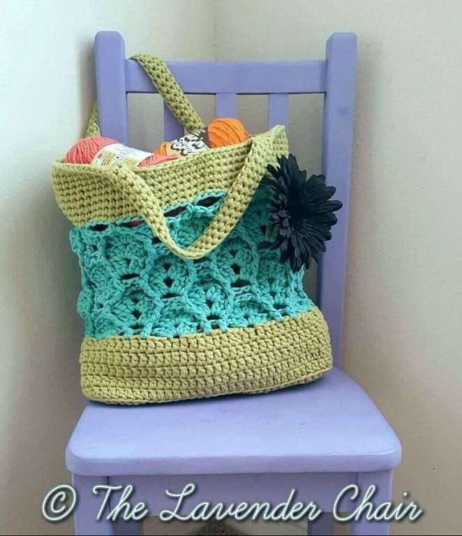 (4) Name: 'Crocheting : Wheat Fields Market Tote