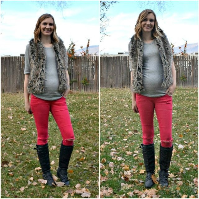 Feather's Flights {a creative, sewing blog}: Me Made: Fur Vest and Metallic Dotted Maternity Tee