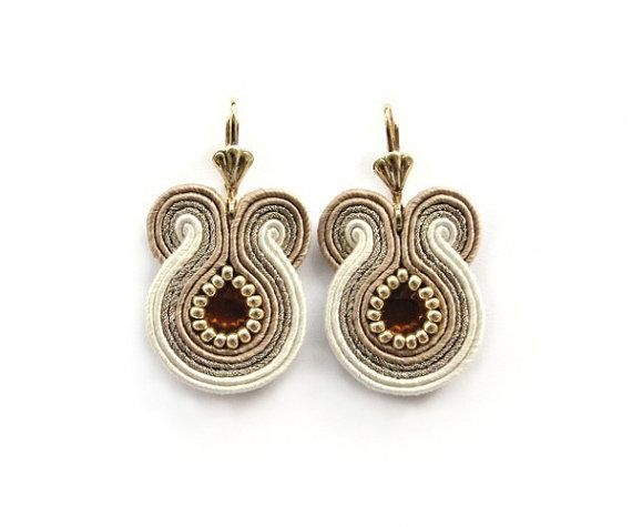 SALE !!! Golden Wedding Soutache Earrings, Bridal Neutral Earrings on Etsy, $40.00
