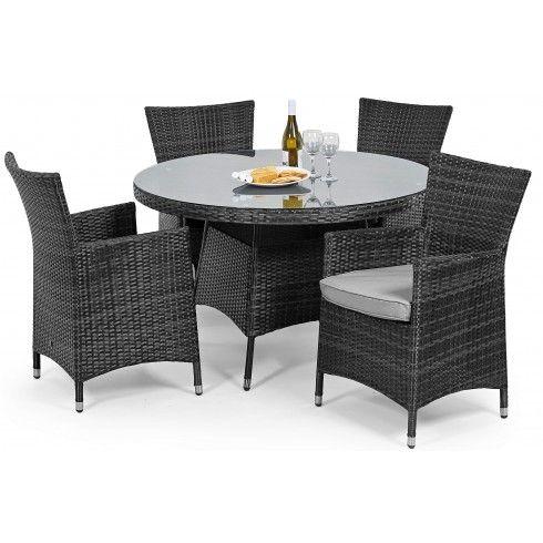 Maze Rattan Garden Furniture Baby LA Grey 4 Seater Round Table Set