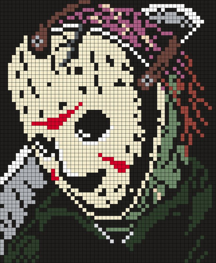 Jason Voorhees / Friday The 13th Poster (Square) Perler Bead Pattern / Bead Sprite