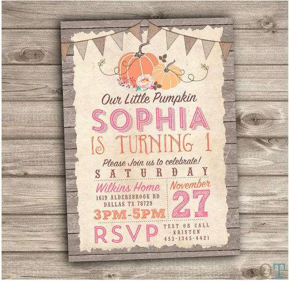 Pumpkin Birthday Printable Invitations Fall theme Rustic Wood Farm Burlap Our Little Pumpkin Country Pink Party Girl First Birthday NV611