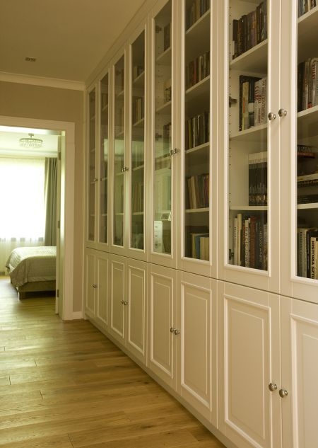 biblioteka, podłoga, szafka