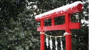 Snow on the Hikawa shrine in Higashimurayama.