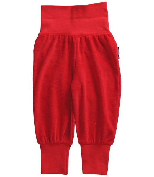 Maxomorra Red Velour Baby Trousers