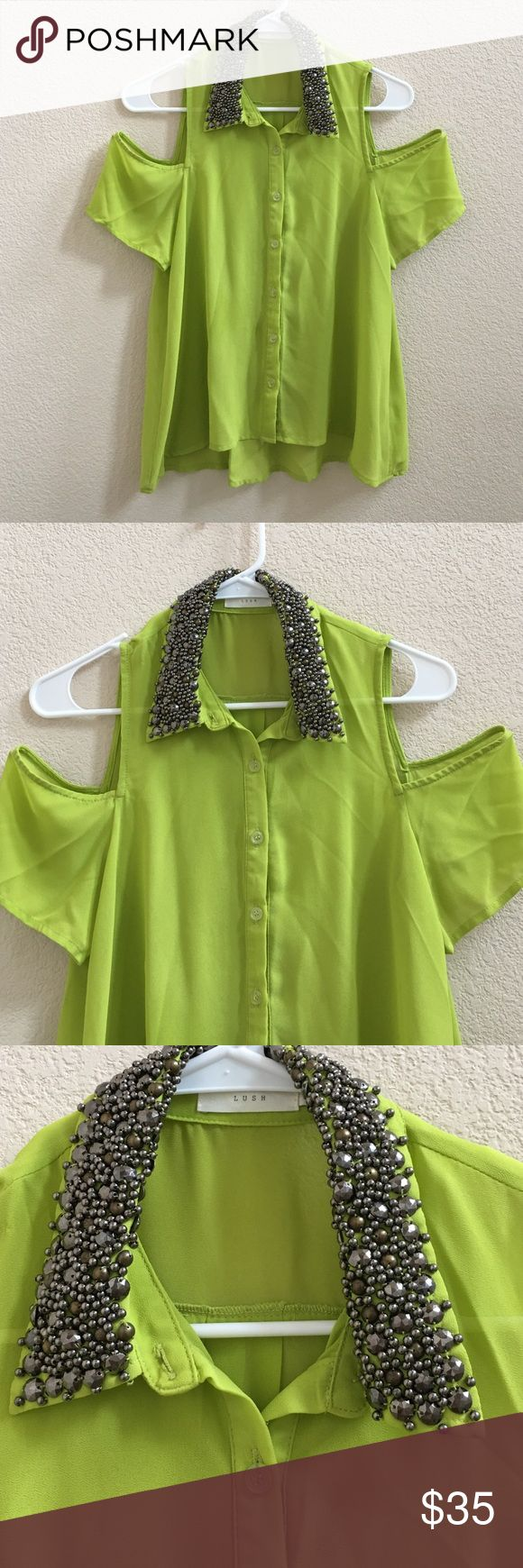 Nice green cold shoulder chiffon party top You will stay center of attraction when you wear this gorgeous & sexy top with shorts or leggings or pencil skirt. Nordstrom Tops Blouses