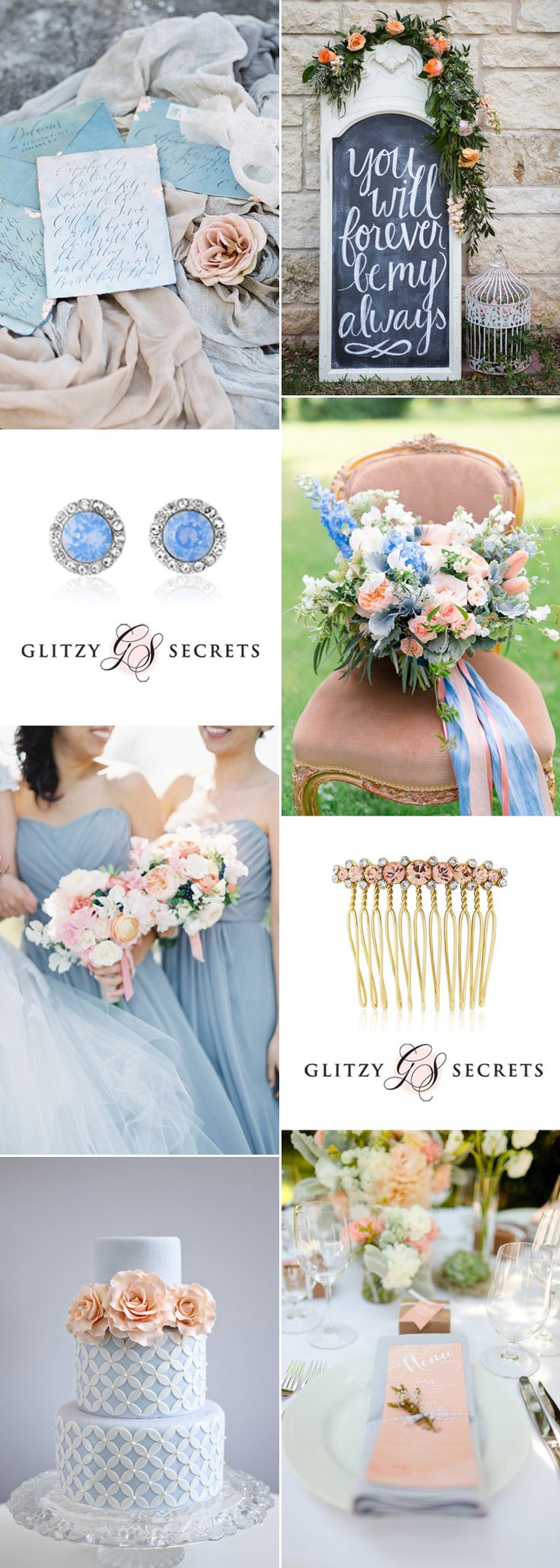 I simply adore the heavenly combination of a pale blue and soft peach wedding theme. This delicious palette is understated and chic, and is absolutely made for sprig and summer weddings
