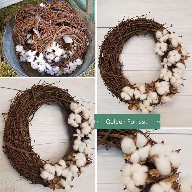 Cotton Wreaths. . #goldenforrest #goldenforrestcreations #wreath #doordecor #grapevine #grapevinewreath #cotton #cottonwreath #falldecor