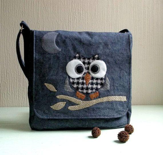 Rocko Messenger bag Flecked blue denim Owl ♥ by CheriDemeter2