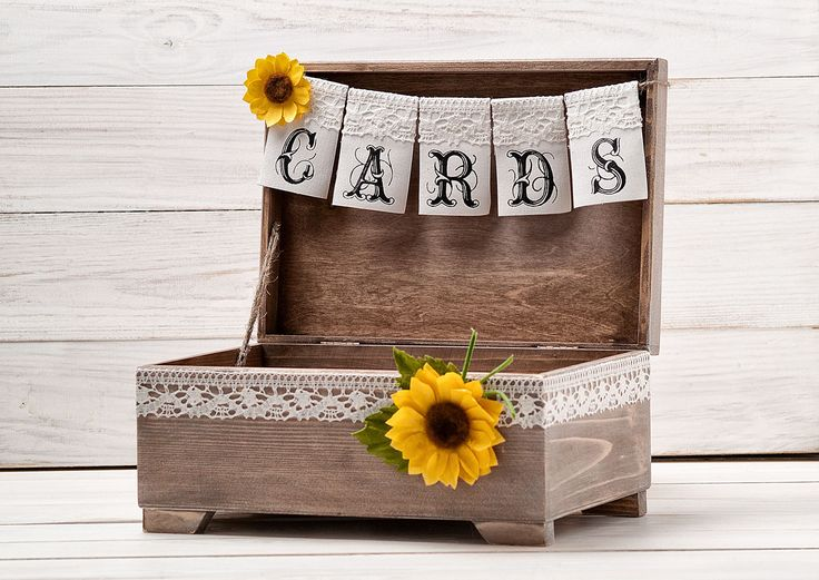 Sunflower Cards Box Rustic Wedding Card Box Sunflower Wedding Advice Wishes  Box Wooden Cards Box Card Holder with Banner Wooden Chest by InesesWeddingGallery on Etsy