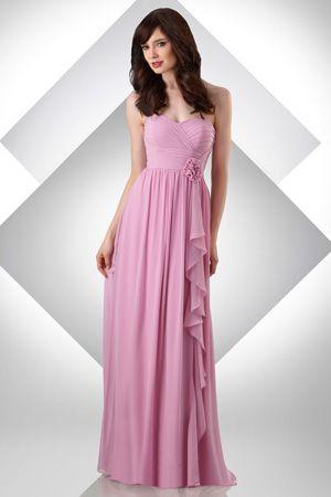 2015 Zipper Up Pink Sweetheart Flower Chiffon Sleeveless Bridesmaid / Prom Dresses By bari jay 324
