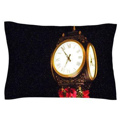 KESS InHouse Xmas Clock by Robin Dickinson Featherweight Pillow Sham Size: Queen, Fabric: Cotton