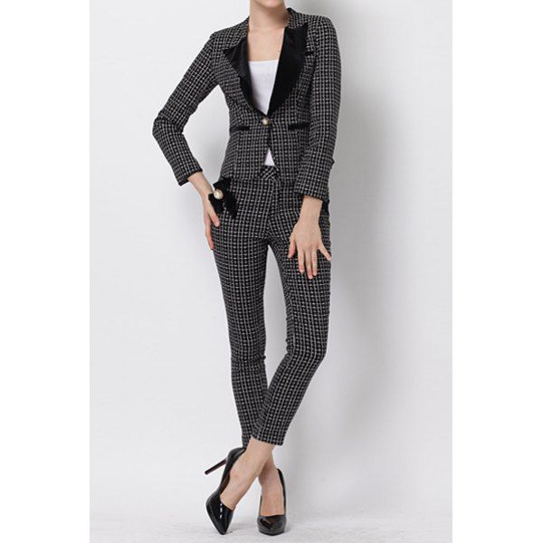 Vintage Long Sleeves Plaid Blazer and Ninth Length Pencil Pants Suits For Women | NastyDress.com