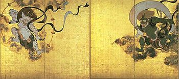 Fujinn raijinn zu, painted by Tawaraya Sotatsu in the 17th century.