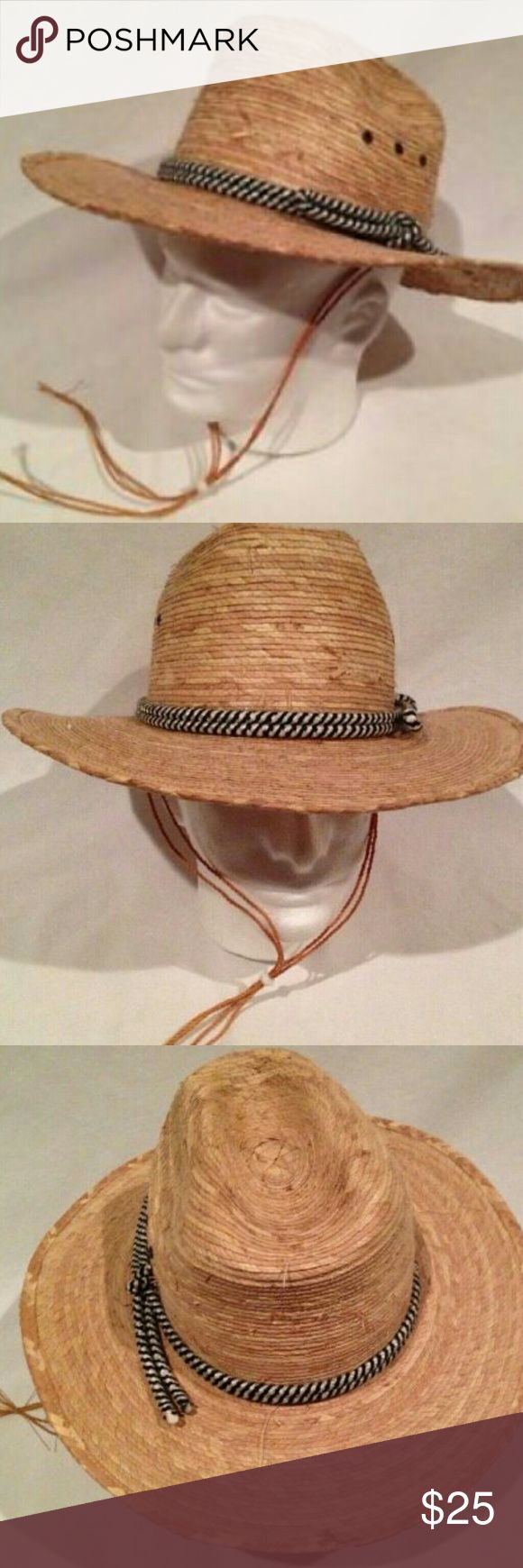 HECHO EN  MEXICO Staw Cowboy Hat Hecho En Mexico Tan Straw Cowboy Hat , sides are curled in now as seen in pictures , blue/White striped rope around the hat , inside the hat has  marked with a number 5  , Never worn , good condition , smoke free and pet free home. Accessories Hats